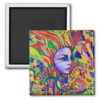 Colorful Woman's Face Graffiti in Vinnitsa Ukraine 2 Inch Square Magnet