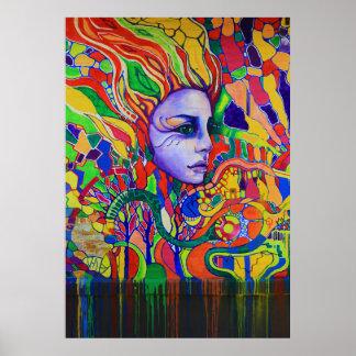 Colorful Woman's Face Graffiti in Vinnitsa Ukraine Poster