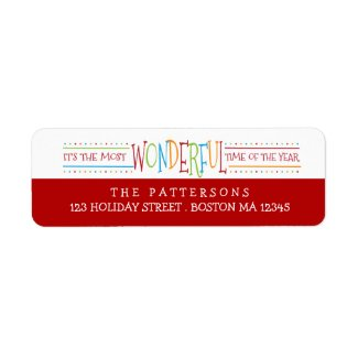 Colorful Wonderful Christmas Address Label