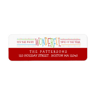 Colorful Wonderful Christmas Address Label at Zazzle