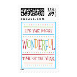 Colorful Wonderful Time of the Year Christmas Postage