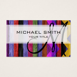 Colorful wood chevron pattern #11 business card