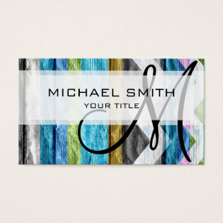 Colorful wood chevron pattern #6 business card