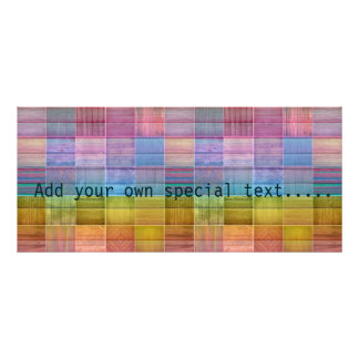 Colorful wood collage,trendy,girly,fun,happy,hip rack card