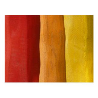 colorful wood design red orange yellow spectrum postcard