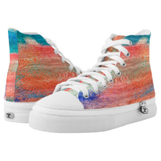 Colorful Wood Grain Texture #3 High-Top Sneakers