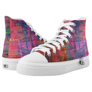 Colorful Wood Grain Texture #6 High-Top Sneakers