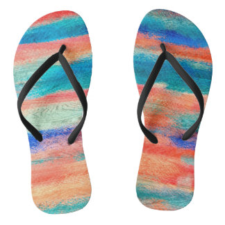 Colorful Wood Grain Texture Flip Flops
