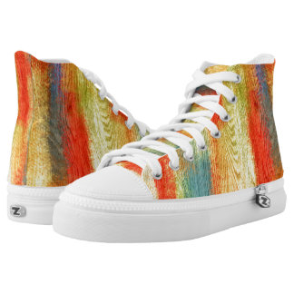 Colorful Wood Grain Texture High-Top Sneakers
