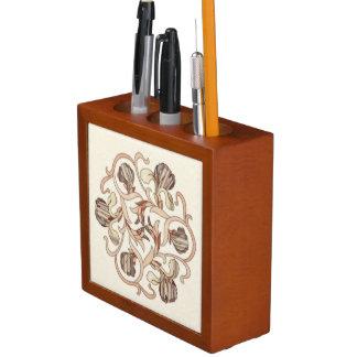 Colorful Wood In-Lay Flower Design3-Desk Organizer