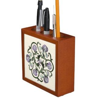 Colorful Wood In-Lay Flower Design4-Desk Organizer