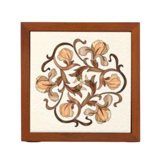 Colorful Wood In-Lay Flower Design-Desk Organizer