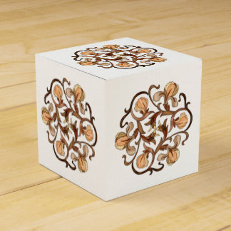 Colorful Wood In-Lay Flower Design - Paper Box