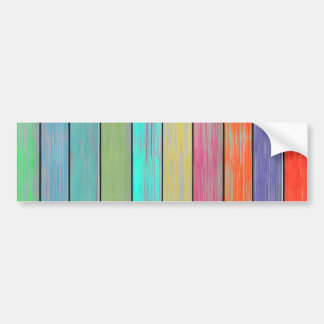 Colorful Wood Planks Car Bumper Sticker