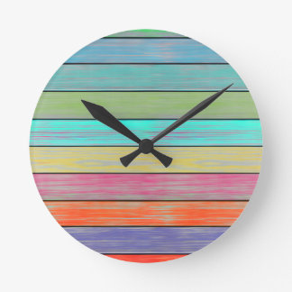 Colorful Wood Planks Round Clock