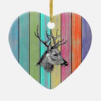 Colorful Wood Vintage Deer Head Ceramic Ornament