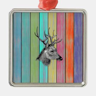 Colorful Wood Vintage Deer Head Metal Ornament