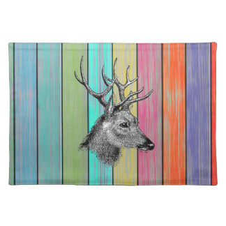 Colorful Wood Vintage Deer Head Cloth Place Mat