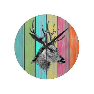 Colorful Wood Vintage Deer Head Round Clock