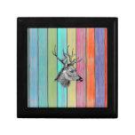 Colorful Wood Vintage Deer Head Trinket Box