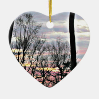 Colorful wooded sunset ceramic ornament