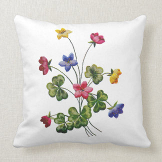Colorful Woodsorrel Faux Embroidered Pillow