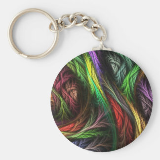 Colorful Wool-Effect Pattern Basic Round Button Keychain