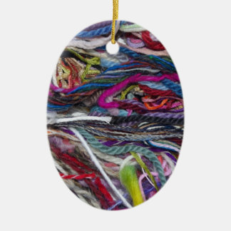 Colorful  wool fibres Double-Sided oval ceramic christmas ornament