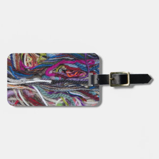 Colorful  wool fibres luggage tag