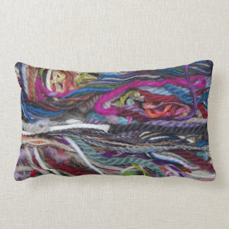 Colorful  wool fibres pillow