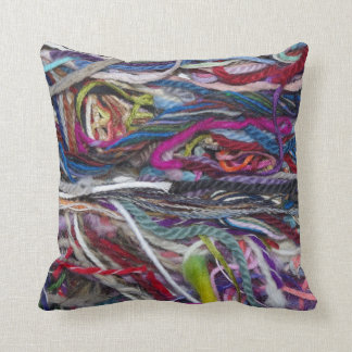 Colorful  wool fibres pillows