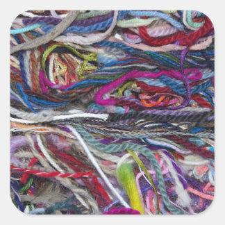 Colorful  wool fibres square sticker