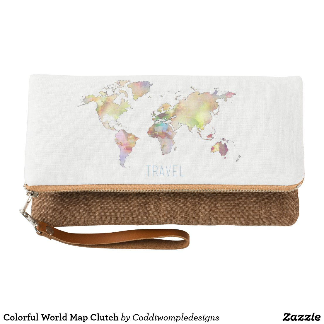 Colorful World Map Clutch