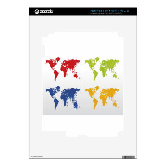 Colorful world map design decals for iPad 3