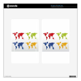 Colorful world map design decals for kindle fire