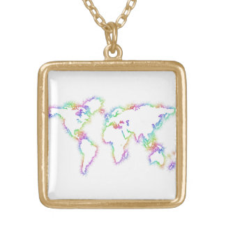 Colorful World map Gold Plated Necklace