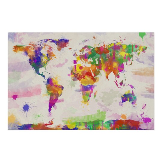 Colorful World Map Poster Zazzlecom - Colorful world map painting