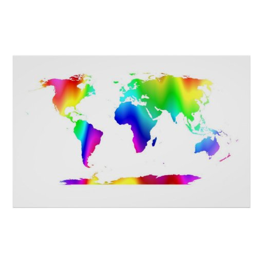 COLORFUL WORLD MAP PRINT Zazzle