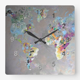 Colorful World Square Wall Clock