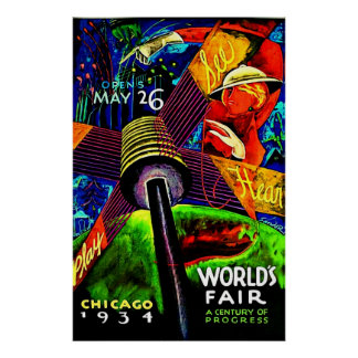 COLORFUL WORLDS FAIR VINTAGE ART POSTER