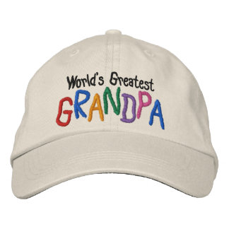 Colorful World's Greatest Grandpa Embroidered Baseball Hat