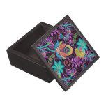 Colorful Worm Tones Retro Flowers Pattern Keepsake Box