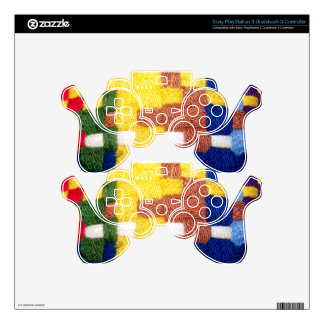 Colorful Woven Pattern PS3 Controller Skins
