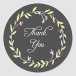 Colorful Wreath Chalkboard Thank You Stickers Stickers