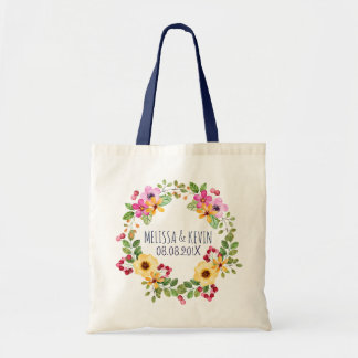 Colorful Wreath Pink Yellow Flowers & Red Berries Tote Bag