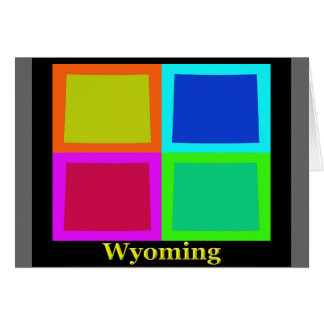 Colorful Wyoming Pop Art Map Card
