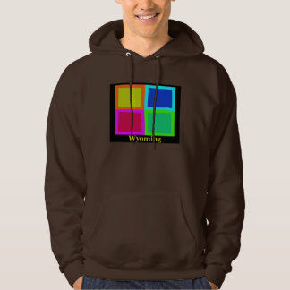Colorful Wyoming Pop Art Map Hooded Pullover