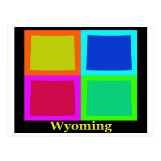 Colorful Wyoming Pop Art Map Postcard