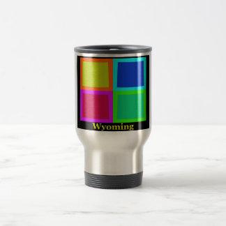 Colorful Wyoming Pop Art Map Travel Mug