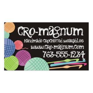 Colorful yarn balls crochet hooks business cards